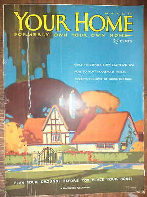 Antique 1927 Your Home Magazine Architecture Home Plans Designs Interior Adverts