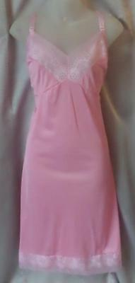 FROSTED BUBBLEGUM PINK Vintage 1960s LACY NYLON & CHIFFON FULL SLIP -sz 34