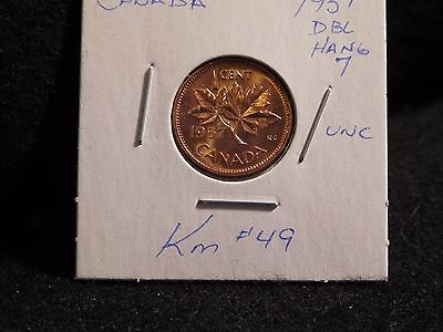 Canada: 1957  (Double  Hanging  7 )    Coin (Unc) (#77) Km # 49