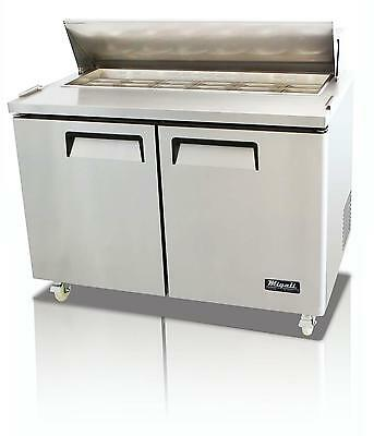 Migali C-SP48-12 12 Cu.ft SS Sandwich Prep Table Two Solid Doors 12 Pan Cap.