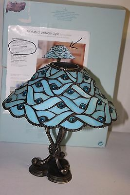 Spring Water Blue Stained Glass Partylite Tealight Candle Holder Lamp AS IS