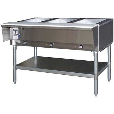 Eagle Group HT3-LP Stainless Steel LP Gas 3 Well Open Base Hot Food Table