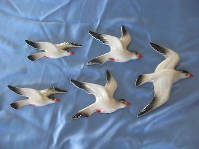 Ceramic Wall Hanging Flying Seagulls X 5 - Retro Style