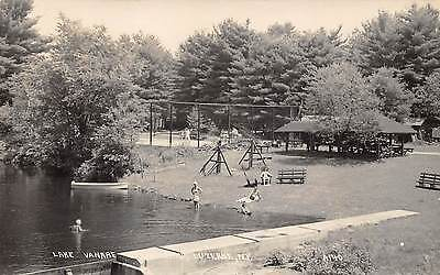 LUZERNE New York US USA postcard RPPC Lake Vanare beach pavilion swimmers 1950