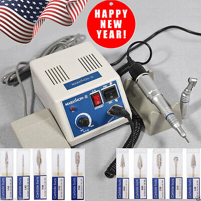 Dental Lab MARATHON 35K RPM Handpiece Electric Micromotor Polisher + Drill*10 N