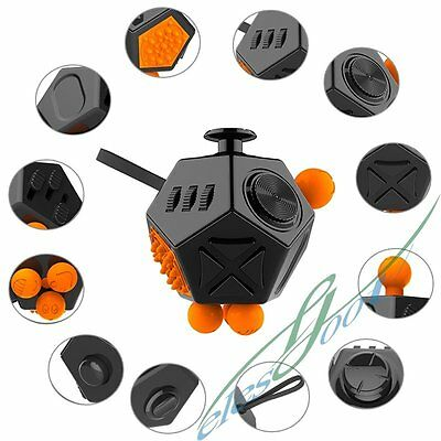 12-Side Fidget Cube Toy Anxiety Stress Attention Relief Puzzle Adult Kids Black