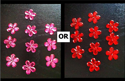 12 Large Flower Acrylic Rhinestones / Jewels - 22mm - Pink or Red