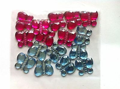 16 Large Butterfly Acrylic Rhinestones / Jewels - 22mm - Pink and Blue