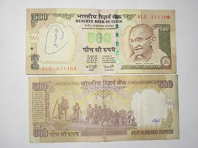 One Note Of Rupee 500 Indian Currency Circulated Gandhi Watermark Collector Item