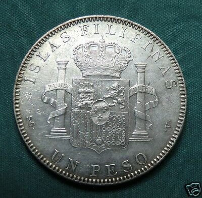 Philippines 1 Peso, 1897, Manila, Alfonso XIII, circulated, nice silver coin