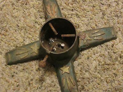Antique Christmas Tree Stand Cast Iron  Painted Small Gold Painted shooting Star