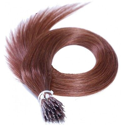 Nano Ring Tip 100% Remy Human Hair Extensions WITH RINGS Dark Auburn #33
