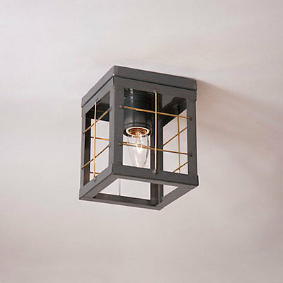 Country Tin Single Ceiling Light with Brass Bars - New Farmhouse Style Lighting