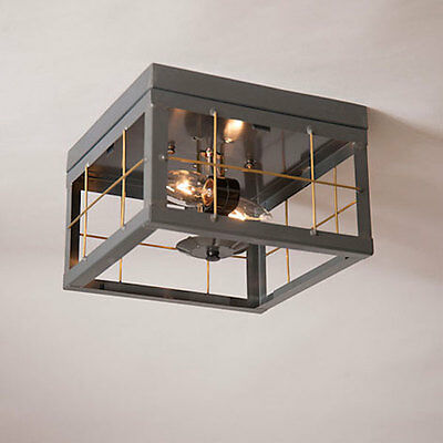 Farmhouse Double Ceiling Light with Brass Bars in Country Tin - New Lighting