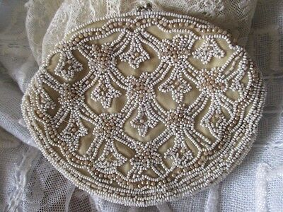 Exquisite Antique Edwardian Vintage Beaded Evening Purse Tiny Glass Beads