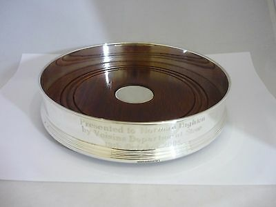 Superb & Huge Sterling Silver & Wood Wine/Champagne Coaster By Broadway & Co
