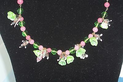 VINTAGE ITALIAN MURANO GLASS FLOWER NECKLACE Soft Pinks & Greens