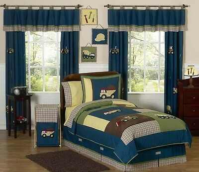 Sweet Jojo Designs Cheap Blue Construction Trucks Tools Boy Kid Twin Bedding Set