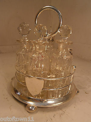6 Cut Glass Bottle Condiment , Silver Plate Stand  Cruet Set    ,   ref 568
