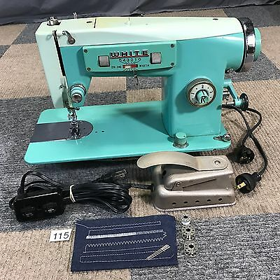 Serviced Works Perfect Vintage White 3355 Heavy Duty Teal Zig-Zag Sewing Machine