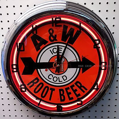 """17"""" Ice Cold A&W Root Beer Sign Neon Clock A & W"""