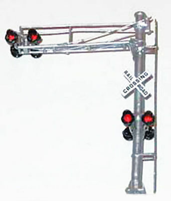 HO Scale Grade Crossing Signal 1 Lane Over Road Brass LEDs NJ International 1193