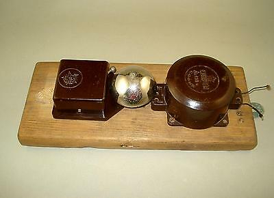 1950s Old Eastern Europe Brown Bakelite Electric Door Bell and Transformer