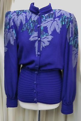 Stunning Vintage Medici By Gill Harvey 80% Wool Purple Mix Cardigan Size 12