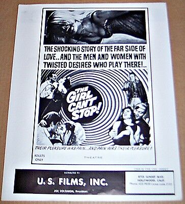 The Girl Can't Stop (1966) Rare Adult Sexploitation Film Original Pressbook !
