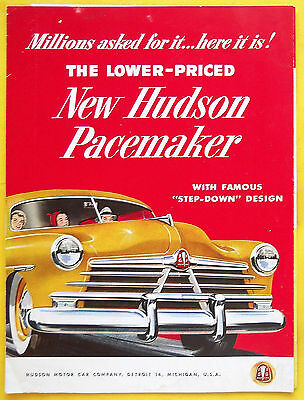"1950 HUDSON PACEMAKER Brochure Literature Folder AMC ""Combined US Shipping"""