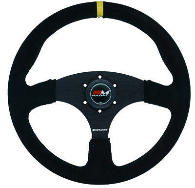 Motamec Race Rally Steering Wheel Flat Spoke 350mm Black Suede Black Spoke Spoke