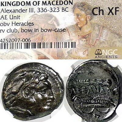 ALEXANDER the Great NGC Ch XF Macedon Club of HERAKLES Ancient Greek Bronze Coin