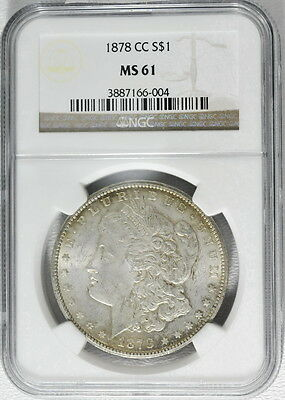 1878-CC US Mint Morgan Silver $1 Dollar MS 61 NGC Graded Carson City Coin