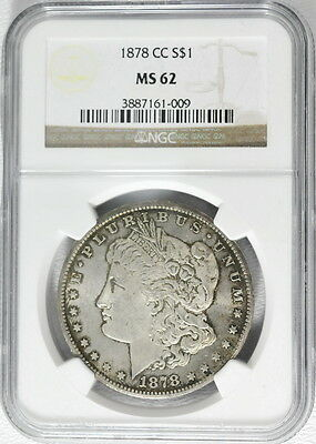 1878-CC US Mint Morgan Silver $1 Dollar MS 62 NGC Graded Carson City Coin