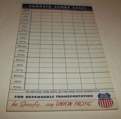 Vtg Union Pacific Railroad Advertising Canasta Card Score Sheet Note Pad