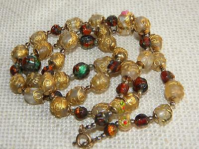 vintage FOIL GLASS & Venetian beads necklace OLD Jewellery