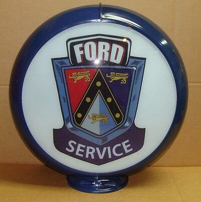"Ford Service Advertising Gas Pump Globe 13.5"" Glass lenses *Gas & Oil"