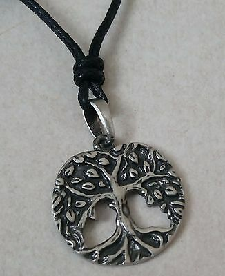 Celtic Tree Beautiful Pewter Pendant On Black Cord Necklace & Gift Box