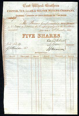 Cornwall: East Wheal Brothers Copper, Tin, Lead & Silver Mining Co., 1835, 5 shs