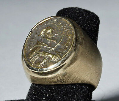ARTEMIS GALLERY 18th C. European Religious Medal in 14k Gold Ring