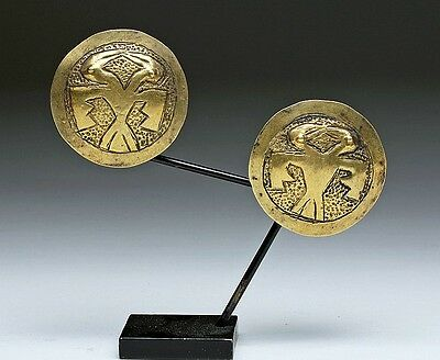 ARTEMIS GALLERY Nazca Gold / Silver Ear Spools - Matched Pair