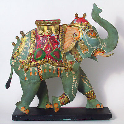 "Colorful Hindu Painted Metal Elephant Statue - 16"" Tall"
