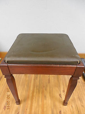 Vintage Leather Top Piano Seat Bench