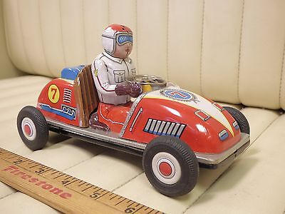1960s Mitomo Gangu Tin Race Car 7 Friction Toy Japan