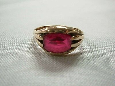 Mens Womens Antique Art Deco 10K Yellow Gold Ring With Smooth Red Gem ~ Size 9.5