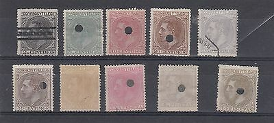 Spain 10 --1879 Used Stamps On Stockcard.cat £350+