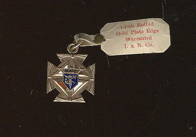 Old Gold & Brass Enameled 2 Sided Pendant, Knights Of Columbus