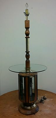 Vintage Antique Large Glass Wood Gold Table Lamp (lamp is actually a table)