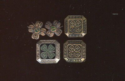 Lot  Of 5 Old 4-H Club Pins, 1 Sterling
