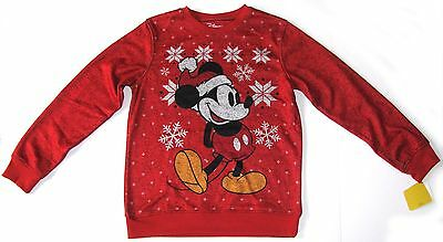 Disney Santa MICKEY MOUSE Boy's Red Holiday Pullover Sweatshirt LARGE 36-38 NEW